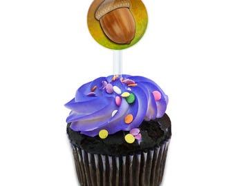 Autumn Acorn Cake Cupcake Toppers Picks Set