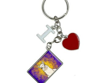 Llama Sticking Out Tongue I Heart Love Keychain Key Ring