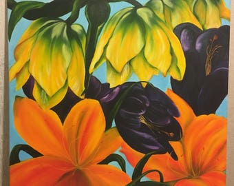 Oil canvas  Crocuses & Fritillaries