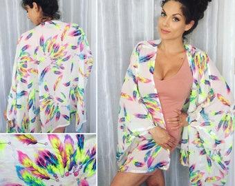 Neon feather kimono shawl