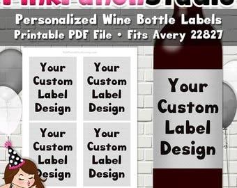 Personalized Custom Design DIY Printable Wine Bottle Label Avery #22827 PDF File