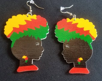 African colorful afro wood earrings