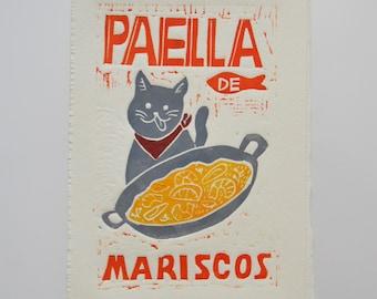 Paella de mariscos - Lino Print