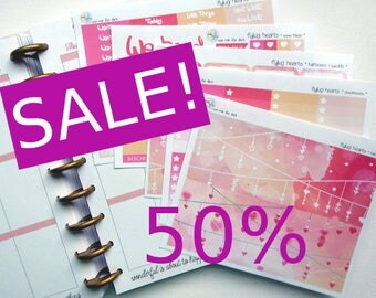 SALE - weekly kit - flying hearts (Erin Condren and Happy Planner Stickers)