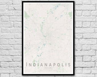 INDIANAPOLIS Map Print | United States City Map Print | Indiana Wall Art Poster | Wall decor | A3 A2
