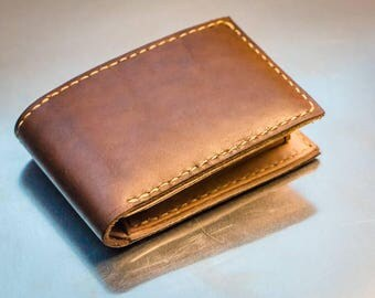 Handcrafted Bifold leather wallet with the coin pocket