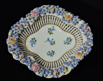 Von Schierholz vintage porcelain lace basket with flowers