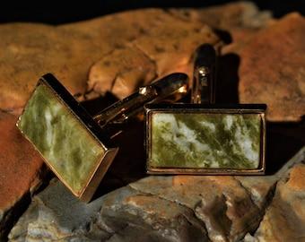 Vintage jade men's cufflinks