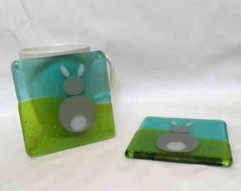 Pair of fused glass rabbit coasters