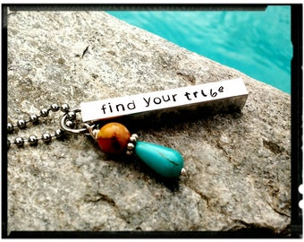 Find Your Tribe • Love Them Hard - Charm Necklace//Keychain - 4 Sided Bar//Hand Stamped//Arrow//Feather//Turquoise Bead - Friend/Family Gift