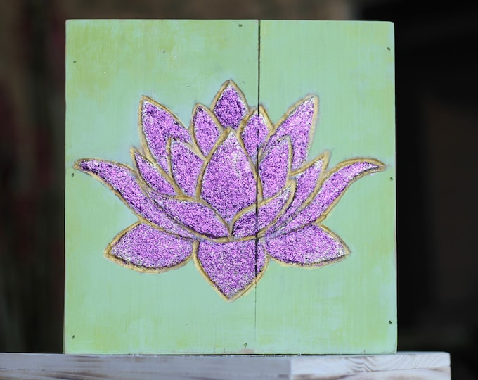 Hand carved Purple Glitter Lotus Flower Wood Wall Hanging
