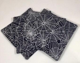 Spiderweb Fabric Coaster Set, Halloween, Spiderweb, Coasters, Gift, Hostess Gift, Fabric Coaster Set, Coaster Set, Table Decor