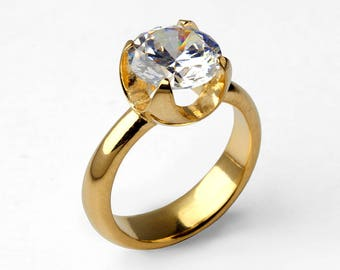 CUP CZ Engagement Ring, Promise Ring, Gold Statement Ring, Gold Solitaire Ring, Gold CZ Ring, Unique Engagement Ring