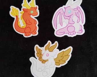 Alletharia's Dwagons Cute Dragon 3 inch Vinyl Stickers Malaya, Sakura and Lunari