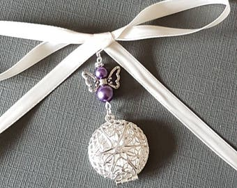 "Wedding Bouquet Charm Photo Frame Charm Round Filigree Silver Memory Charm and handmade ""Angel"" Charm, choice of pearls & Gift Bag"