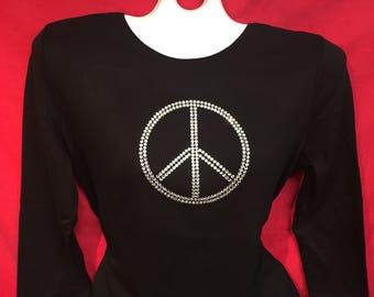 Peace Sign Rhinestone crystal womens shirt SHORT LONG Sleeve Misses S, M, L, XL, Plus size 1X, 2X, 3X Shirts