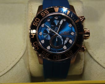 Invicta 52mm Pro Diver Manta Ray Quartz Chronograph Stainless Steel Polyurethane Strap Watch #9