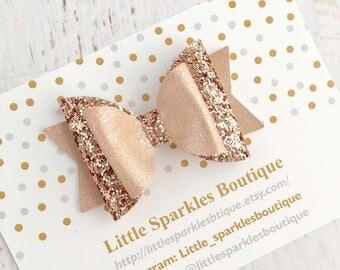 Rose gold hair bow, rose gold glitter bow, girl/baby bow, wedding hair