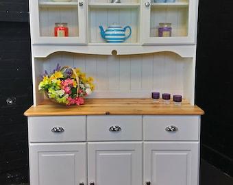 Pine Welsh Dresser - Farmhouse Style - Shabby Chic - White Eggshell