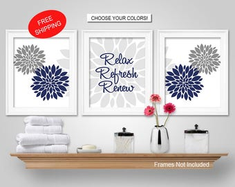 prints or canvas or printable digital download dahlia relax refresh renew navy blue grey bathroom