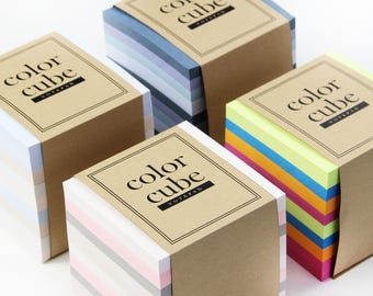 1 - Color Cube Note Pad - Assorted Blue Note Pad, Assorted Pastel Note Pad, Assorted Pink/Gray Note Pad, Assorted Neon Note Pad
