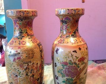 Chinese reproduction vintage vases hand painted and transfer boho chic vases