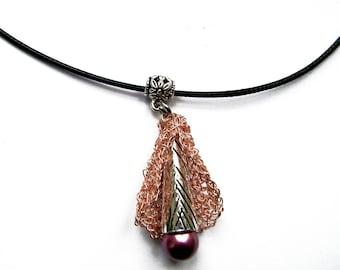 "Pendant in copper wire crocheted ""Flower of metal"""