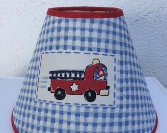 Vintage Car Lamp Shade, Nursery Blue Lamp Shade