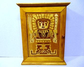 Inlay trade dressed wooden key box