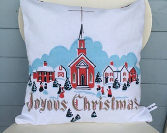 Joyous Christmas Pillow, Vintage Retro Christmas Cushion, Mom Gift Pillow, Tartan Cushion