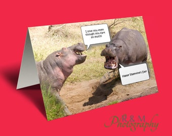 valentines card - fart card - love you card - valentine card - funny card - card for him - card for her - hippo card - love card