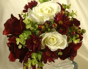Rose Bridal Bouquet, Burgundy and White Rose Bridal Bouquet, White and Burgundy Brides Bouquet, Burgundy Red and White Rose Wedding Flowers
