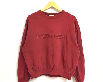 Rare !!Vintage 90's TRUSSARDI  sweatshirt Big Logo Embroidery Spell Out red colour  made in italy (B1)