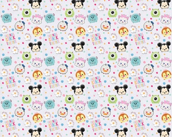 Disneys Tsum Tsum I love my friends Cotton Fabric