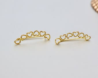Ear Creeper, Gold Hearts Ear Creeper, Boho Jewelry, Simple Earrings, Romantic Earrings, Simple Ear Climber, Modern Jewelry, Gifting, (E79)