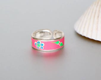 Flower Toe Ring, Pink Toe Ring, Silver Toe Ring, Printed Toe Ring, Boho Toe Rings,Feet jewelry, Feminine Toe Ring, Happy Toe Rings,(TS40P)