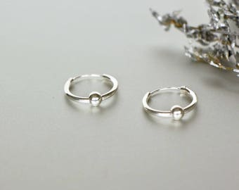 14 mm Silver Hoops, Hoops With Ball, Silver Hoops, Round Rings For Ears, Piercing hoops, Sterling Silver Hoops, Gift Ideas, (E91)
