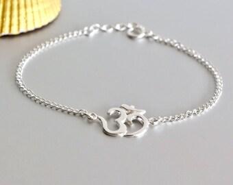 Silver Om Bracelet, Sterling Silver Bracelet, Minimalist Bracelet, Christmas Gift, Sterling Silver Bracelet, BS 41
