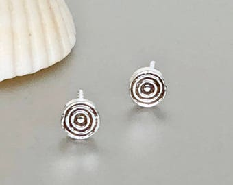 Sterling Silver Flat Round Studs, Tiny Earings, Minimalist Ear Studs, Silver Ear Studs, Gifts For Her, Pretty Ear Studs (E191)