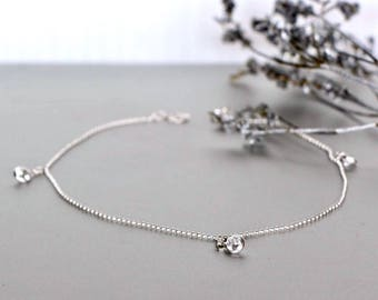 Silver Diamante Anklet, Sterling Silver Anklet, Minimalist Anklet, Simple Anklet, Beach Wear, Boho Jewelry, Foot Chain, Gypsy Jewelry, AS108