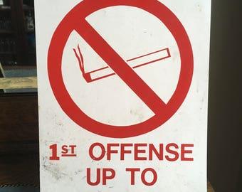Vintage Metal No Smoking Sign 50 Dollar Penalty Fine Industrial Public