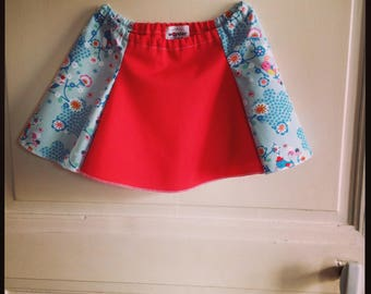 Spring/summer clothes - skirt Julia - girls quilted red cotton and printed blue flowers and colorful birds