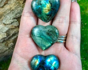 Labradorite - Pocket Sized Polished Heart - 3 to chose from.