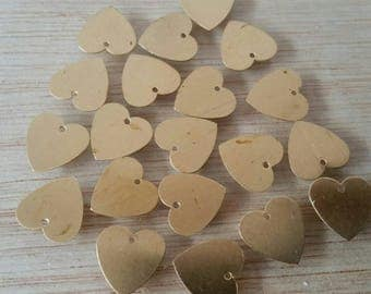 Set of 20 copper sequins heart shape