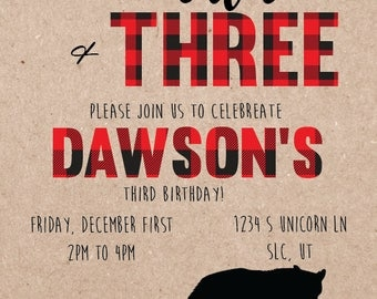 Young, Wild, and Three Birthday Invitation