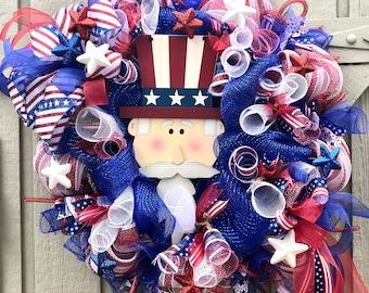Patriotic Deco Mesh Wreath, Patriotic Wreath, Summer Wreath