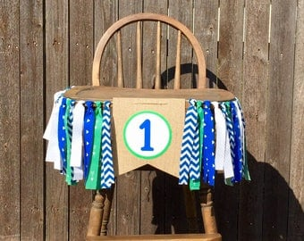 Blue and Green High Chair Banner - First Birthday Decorations- Cake Smash Photo Shoot -Baby Boy- One