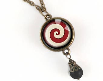 Red and White Spiral Necklace