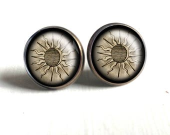 Ancient Sun Stud Earrings