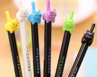Cat Pens / Office Supplies / School Supplies / Kitty Pen / Kawaii Stationary / Cute Gifts / Cat Lover / Japanese Stationery / Cute Gel Pen